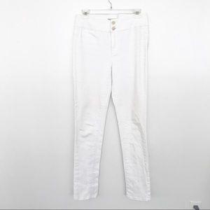 BCBG hi rise white skinny jeans zipper hems 28